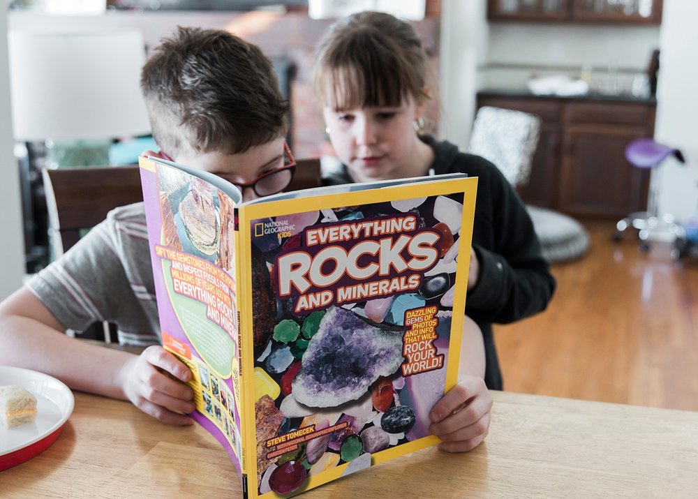The kids broke open their geodes and then devoured this Everything Rocks and Minerals book that we ordered from Amazon.  Come see what else we did in our latest Week in the Life of an Unschooler!