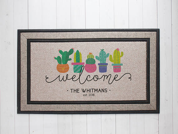 Personalized cactus doormat for spring is just one idea in my Etsy Spring Decorating Ideas post today! Come see what else I found--so cute :)