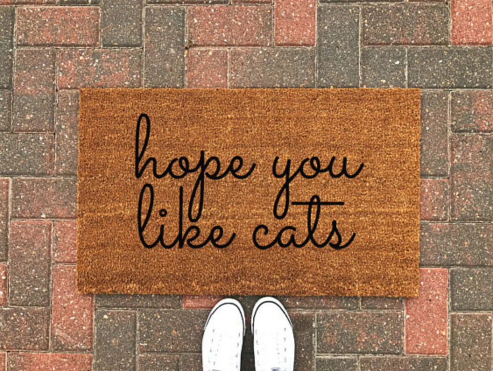 """""""Hope you like cats"""" doormat from NinetoWneDesign cracked me up--it's not necessarily a """"spring"""" doormat, but it's fun to get a new one as you decorate for spring!"""