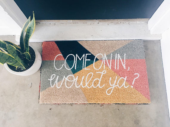 Spring decorating ideas have to include a doormat, right?? I adore this print and the phrase...it feels so sweet and loving (from Palmer Lettering Company). I have more ideas (all from Etsy) on the blog today!!