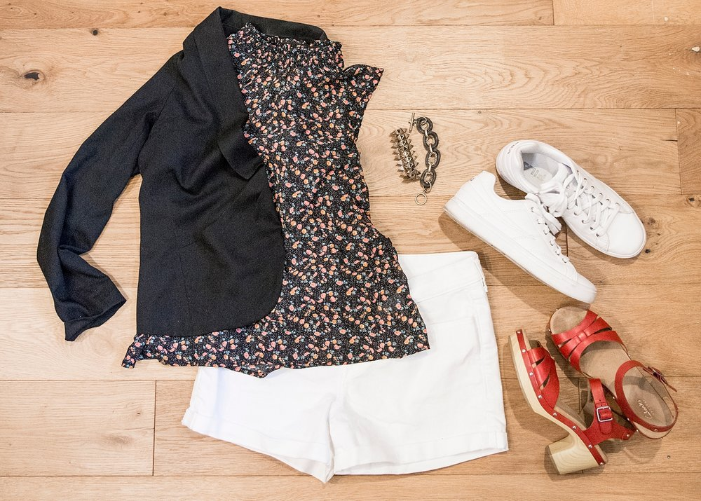 Outfit ideas for women over 40!  White shorts and a black blazer are never wrong :)  More spring outfit ideas for women on the blog!!