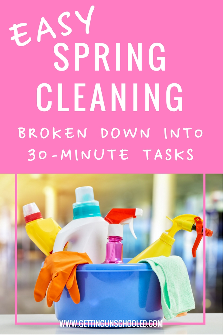 Awesome and Easy Spring Cleaning Ideas!  Here's a great list of 30-minute tasks to get your house sparkling this spring!