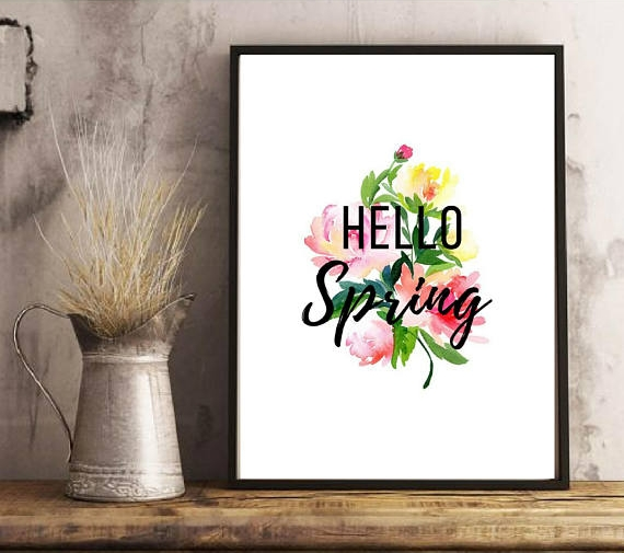 Hello Spring digital download from MamaADesigns is a blatant, yet beautiful welcome to spring in your home :) More spring decorating ideas are on the blog today!! Come see what gorgeous ideas I found on Etsy!!