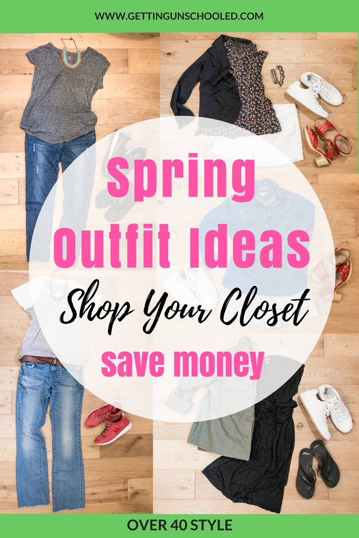 Great ideas!  Spring outfit ideas for women over 40--it was so fun putting these ideas together and now I have some templates to use going forward.  Capsule wardrobes work for some people, but I'm going to stick with outfit planning and shopping my closet for now :)  | Getting Unschooled is a family lifestyle blog about unschooling, family life, over 40 style, and more!  Thanks for pinning!