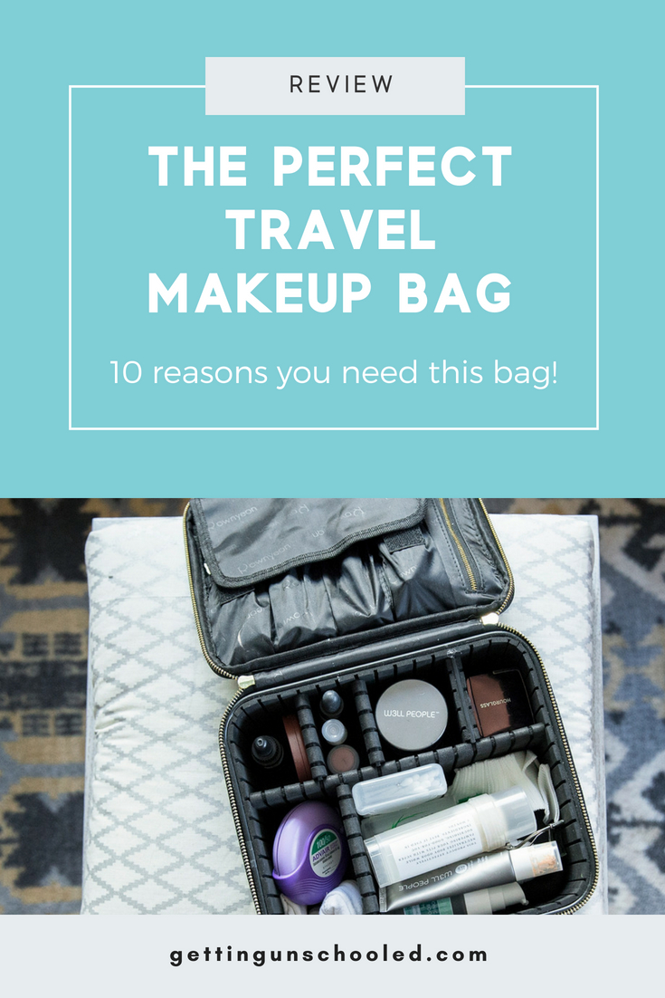 Searching for the BEST makeup travel bag?  I've got you covered!  I found this awesome ROWNYEON mini travel makeup train case on Amazon and I've put it to the test.  It passed with flying colors!  I won't travel again without this makeup travel bag--it's seriously the best one i've ever used :)  | Getting Unschooled is a family lifestyle blog about unschooling, traveling with kids, over 40 fashion, and more!