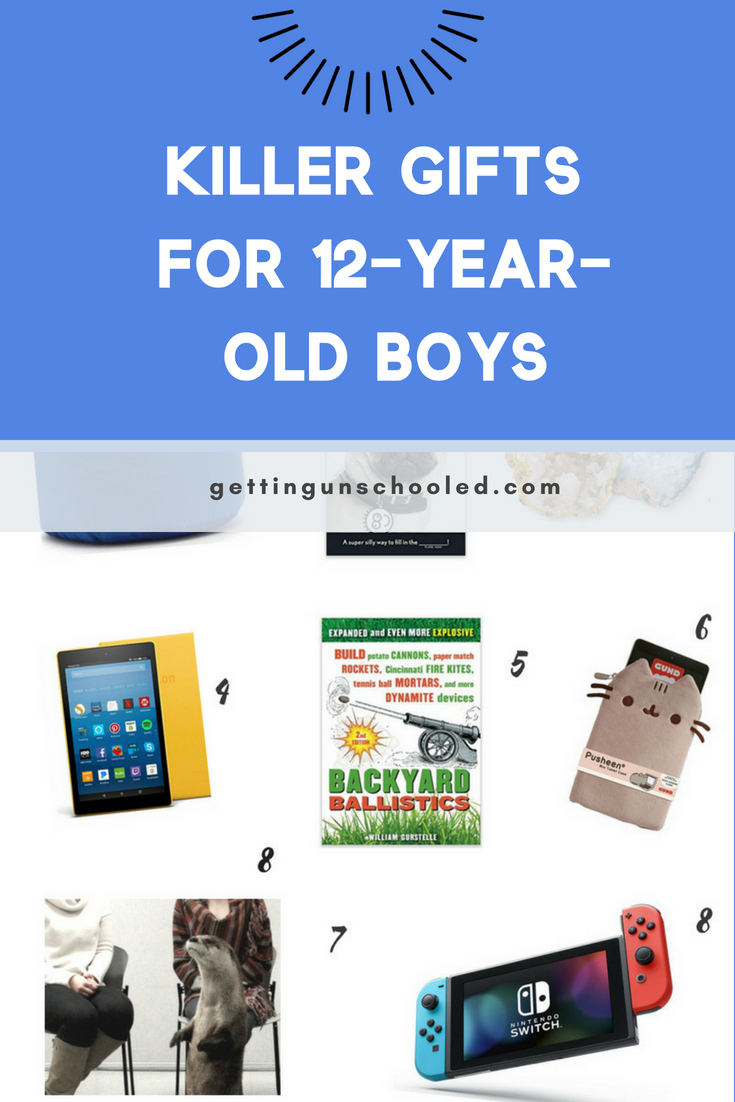 Awesome ideas for the pre-teen boy in your life or the 12-year-old who has everything!  12-year-old boys are kind of hard to buy for--they are in that weird place of not interested in toys anymore, but not really into fashion yet. Check out this great list!  | Getting Unschooled is a family lifestyle blog about unschooling, over 40 fashion, and non-toxic beauty.  Thanks for pinning :)