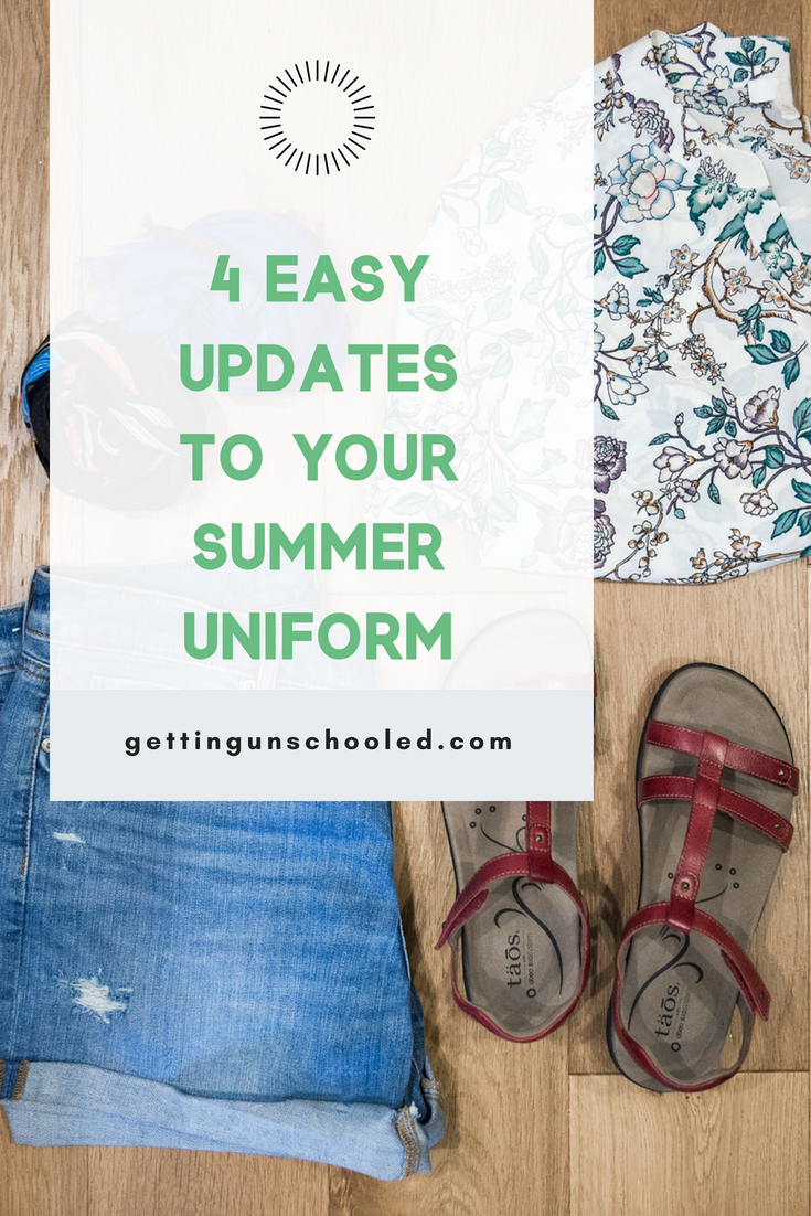 "I made 4  easy changes to my usual summer wardrobe and WOW!  What a difference :)  Quickly update your mom style and look cute in today's post, How to Quickly Update Your Summer Outfits for Women Over 40"".  Good stuff!!  