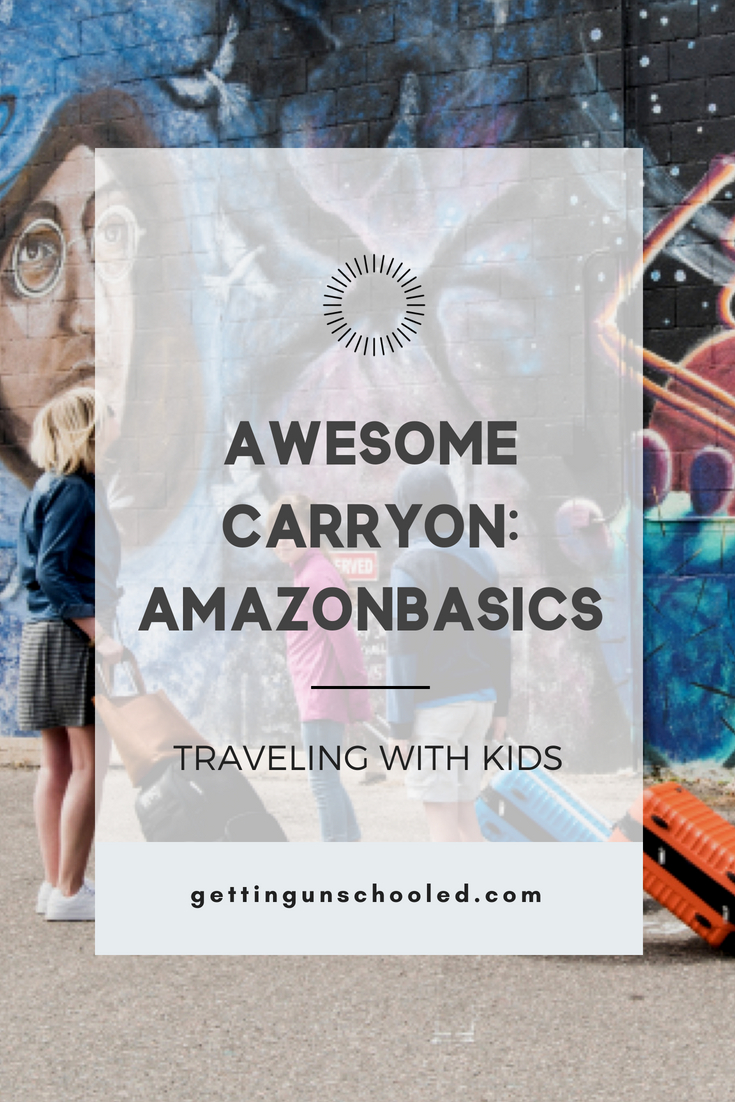 Looking for the best kids rolling suitcase?  These AmazonBasics hard case carryons are lightweight spinners for under $50!  We love them for traveling with the kids.  More info and photos on the blog today!  #amazonbasics #travelingwithkids #traveltips #roadschooling