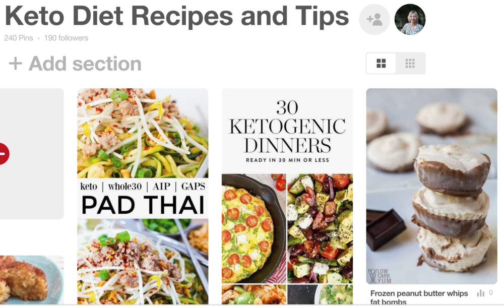 Keto diet recipes, tips, and information on my Pinterest board--follow along!