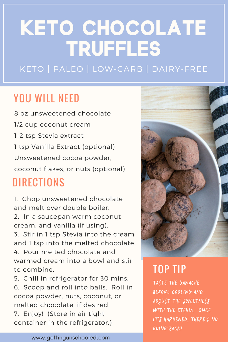 Look for a fat bomb that will also satisfy your sweet tooth?  These Keto Chocolate Truffles will do the trick!  Only three ingredients and so easy to make! | Getting Unschooled | #keto #ketodiet #fatbombs #lowcarb #paleo #dairyfree