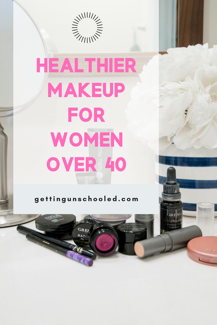 Best healthy makeup for women over 40 is on the blog today!  Good stuff!  I cover various brands I've been using and loving--kind of a mini review :)  #over40 #over40style #over40beauty #makeuptips #greenbeauty