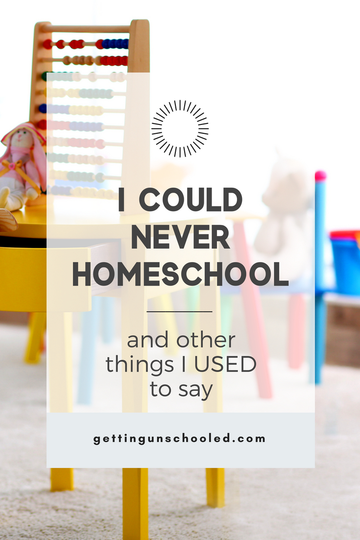 """""""Only weird families homeschool."""" And other things I used to say before we homeschooled ;) How we went from strongly supporting our kids in their public and private schooling to figuring out why homeschooling isn't bad, in fact: it's AMAZING! #homeschooling #unschooling #lifeschool #roadschool #gettingunschooled"""