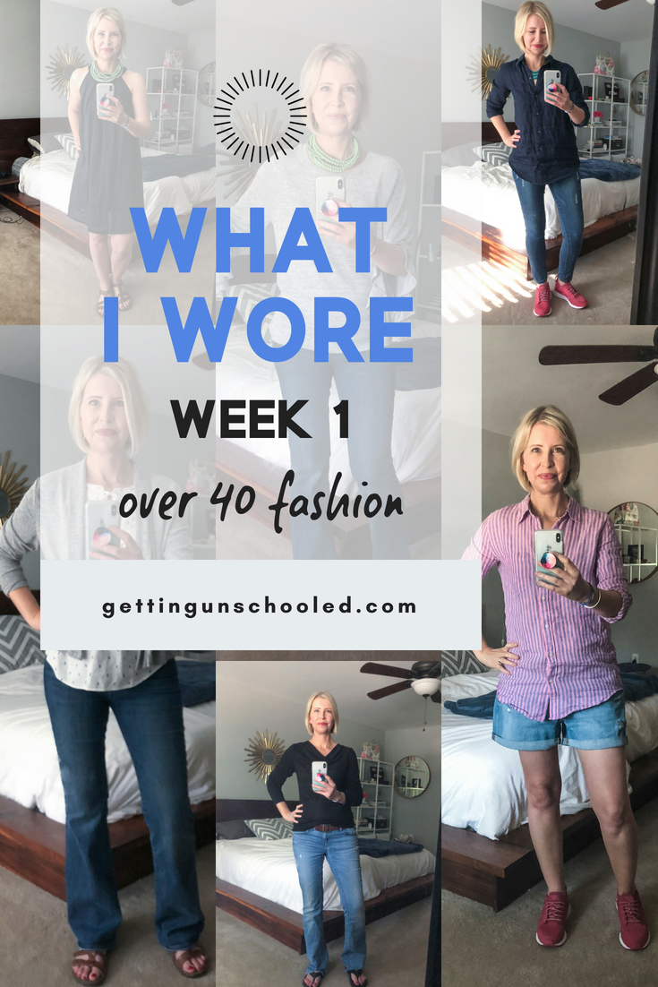 I'm trying to make more of an effort with my wardrobe, so I'm tracking my outfits daily--see what this over 40 mom wears throughout the week! I love seeing what other people wear--great inspiration :) #over40fashion #womensfashionover40 #over40outfits #womenfashion style  over  40