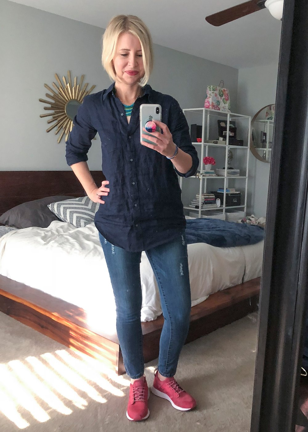 blue button down tunic over 40 comfortable outfit ideas getting unschooled