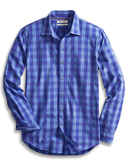 Amazon has a few men's private label fashion lines that look classic and preppy with budget-friendly prices like this blue and periwinkle checked button down.