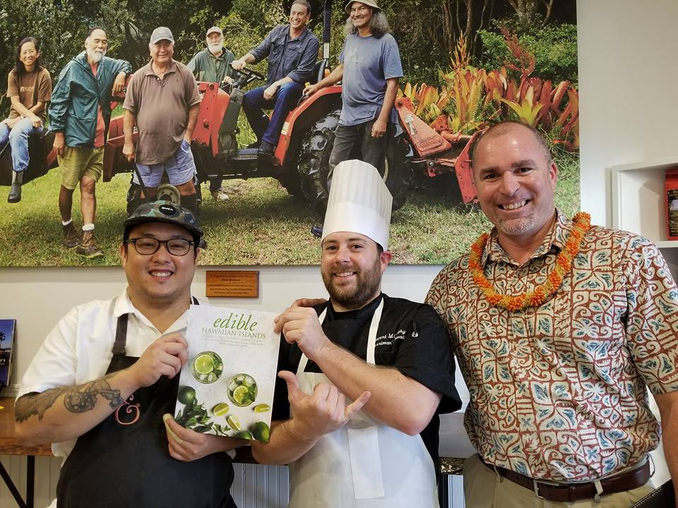 Merriman's Waimea Executive Chef Vince McCarthy, Celebrity Guest Chef Andrew Le from Pig and a Lady, and HILT CEO Kawika Burgess at the Hawaii Island Paina