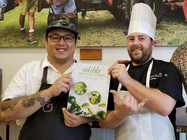 Guest Celebrity Chef Andrew Le from Pig and a Lady and Executive Chef Vince McCarthy at Merriman's Waimea