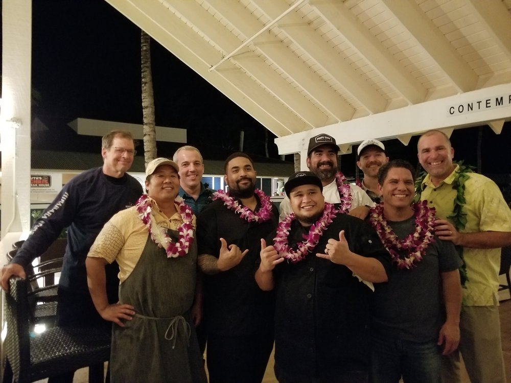 Celebrity Guest Chef Mark Noguchi, Executive Chef Mark Arriola, and the crew at Merriman's Fish House in Poipu, Kaua'i