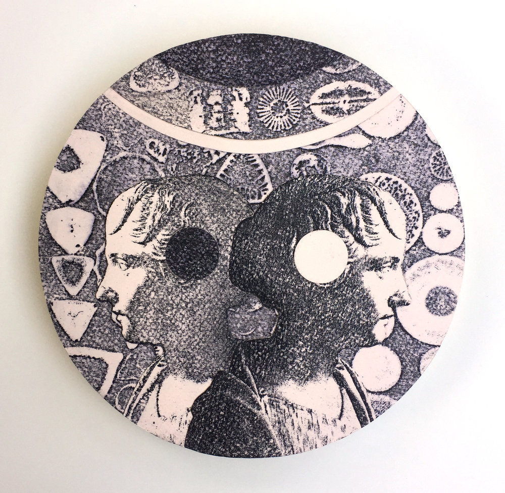 "8"" Diameter, Collage on Circular Panel, 2017"
