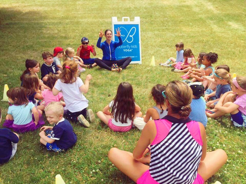 Taking yoga outside as a special guest at one of our preschool program's summer events. Yoga fun in the sun!
