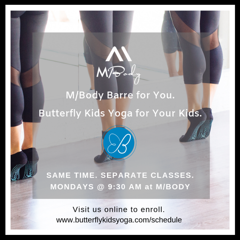 Monday class @ M/Body. Ages 3-5. - Monday, 10/15 at 9:30am. Pair with an M/Barre class for yourself! Enroll here.