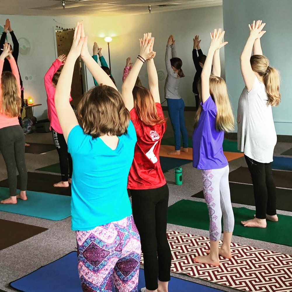 Standing tall and proud at their Girl Scout yoga session!