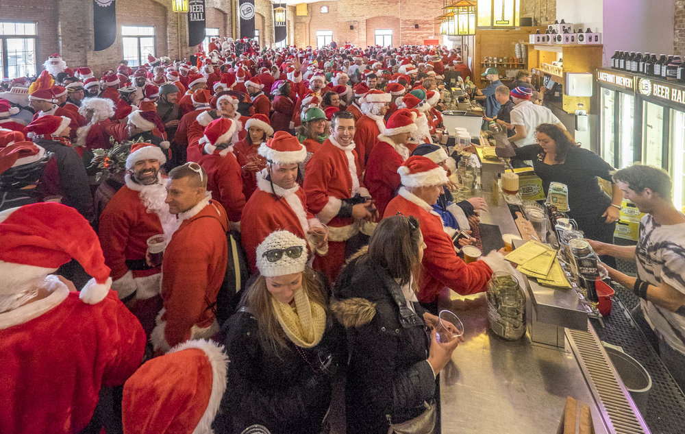 the  santa rampage bike ride  makes an annual stop at Lakefront brewery in milwaukee
