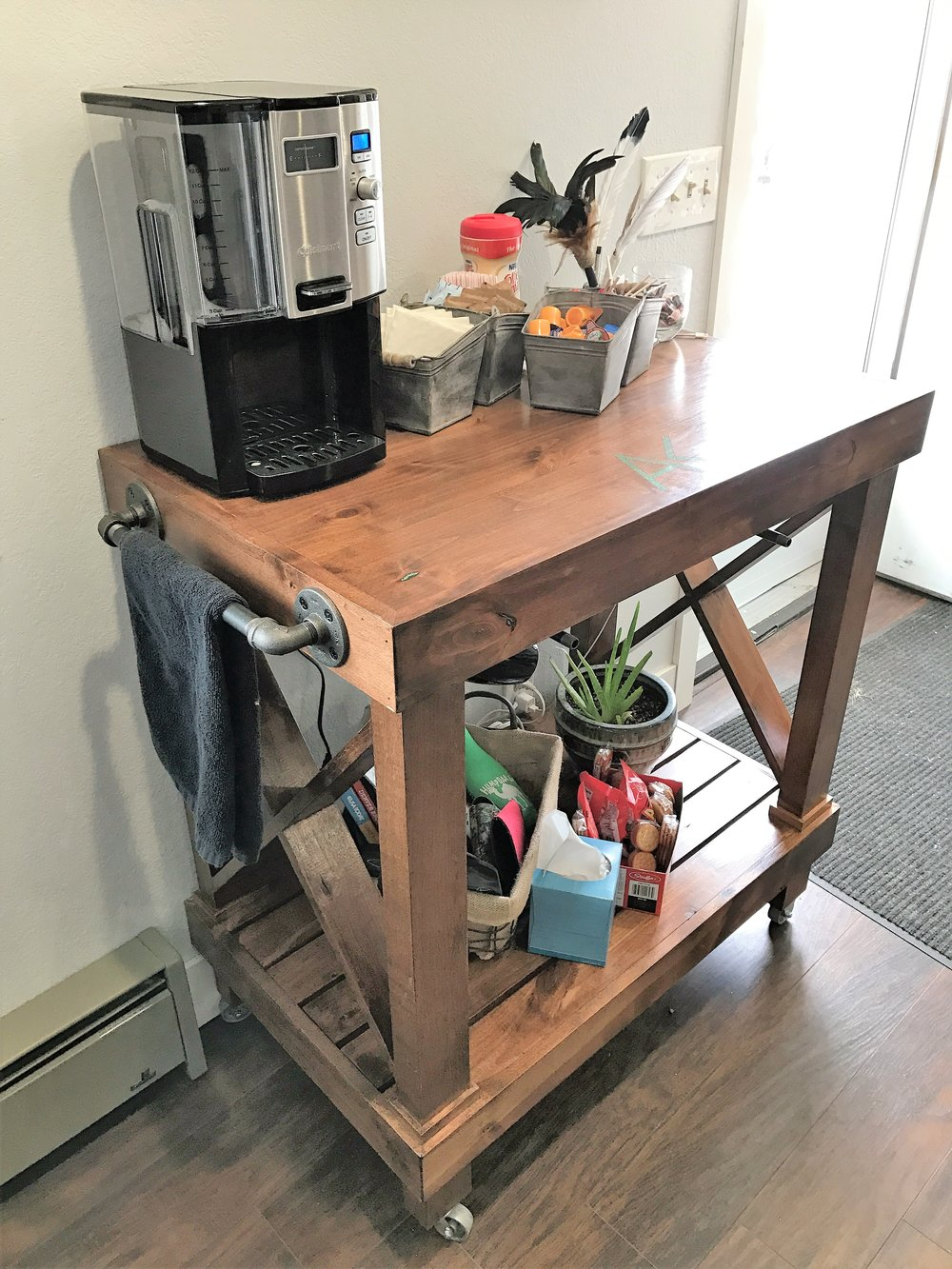 Knotty alder stained coffee cart
