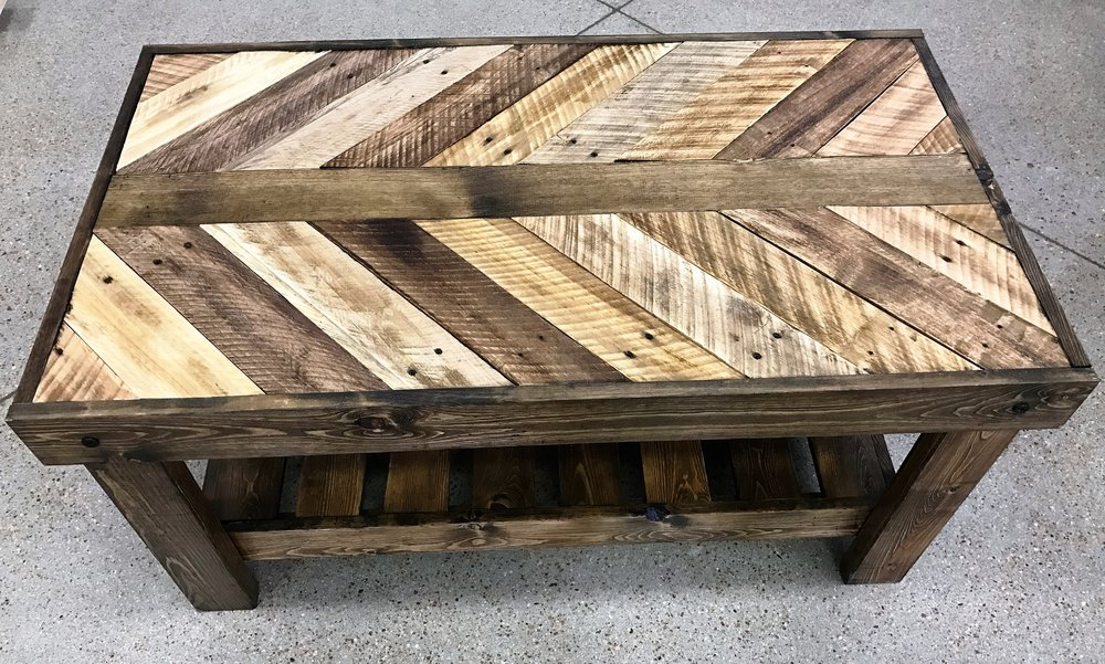 Ordinaire Stained Reclaimed Wood Coffee Table