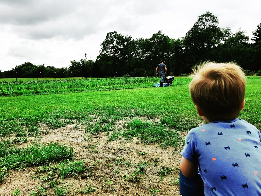 He never gets tired of watching our farmer use the tractor.