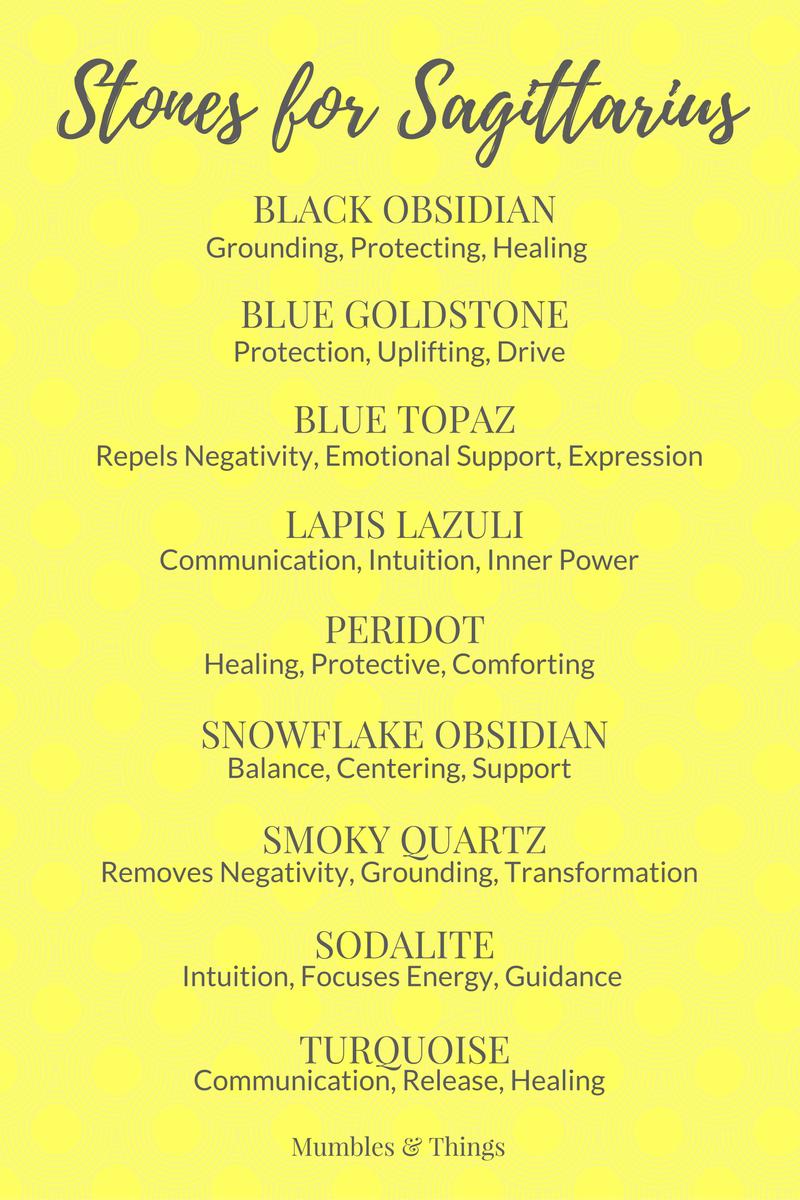 Crystals for Sagittarius - black obsidian, blue goldstone, blue topaz, lapis lazuli, peridot, snowflake obsidian, smoky quartz, sodalite, turquoise