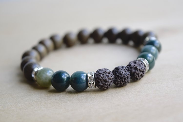 sterling silver beaded men stretchable moss agate bracelets green adventure for bracelet and