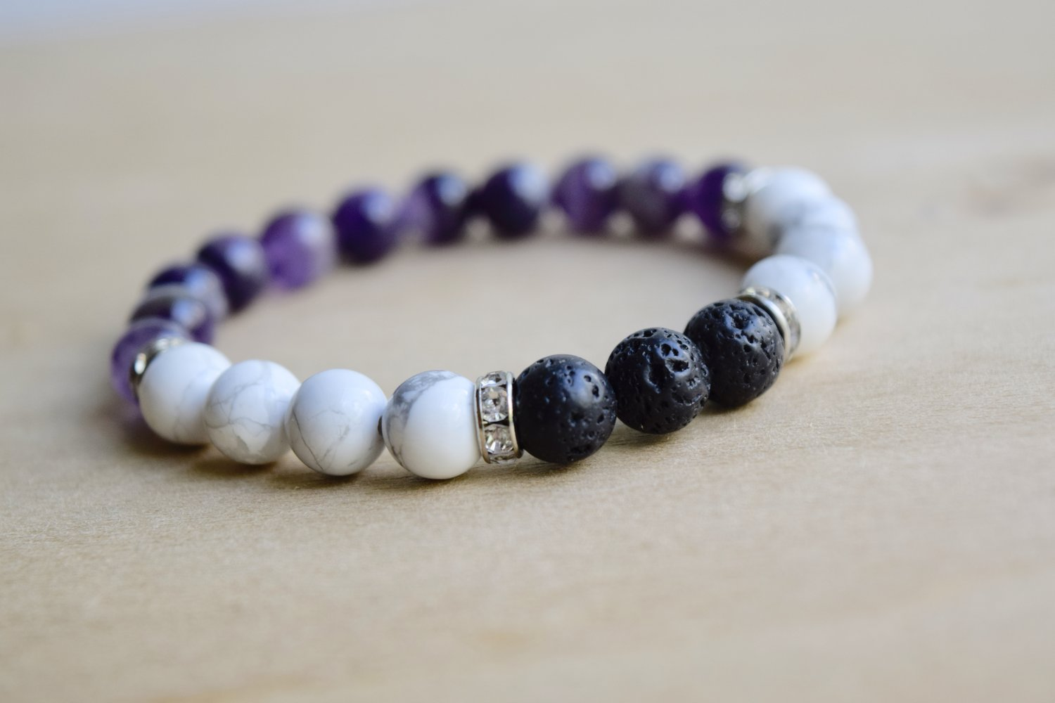 0c8fcef63b3 SPIRITUAL PEACE // Howlite and Amethyst Meditation Bracelet with Essential  Oil Diffusing Lava Stone Beads — Mumbles & Things