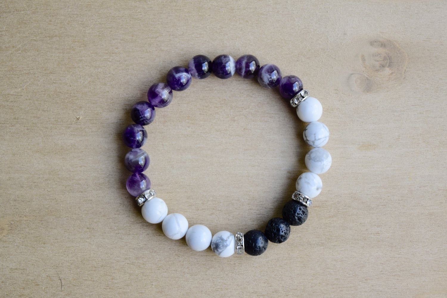 c97c85e0c84 SPIRITUAL PEACE // Howlite and Amethyst Meditation Bracelet with Essential  Oil Diffusing Lava Stone Beads