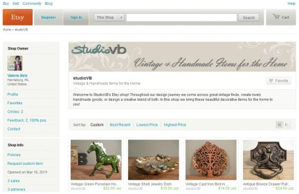 Screen shot of our Etsy Shop.