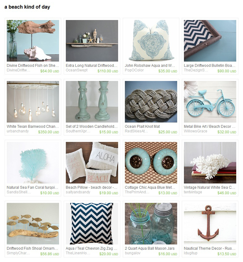 A beach themed Etsy Treasury.