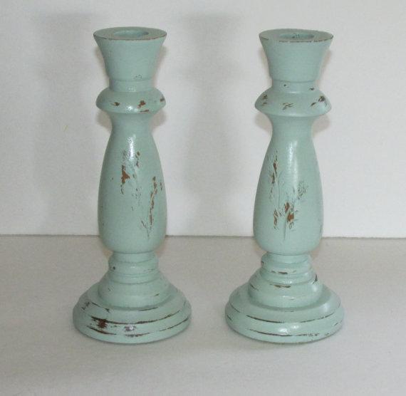 Aqua candlestick holders.