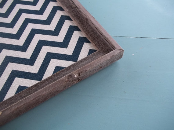 Tray with blue chevron pattern.