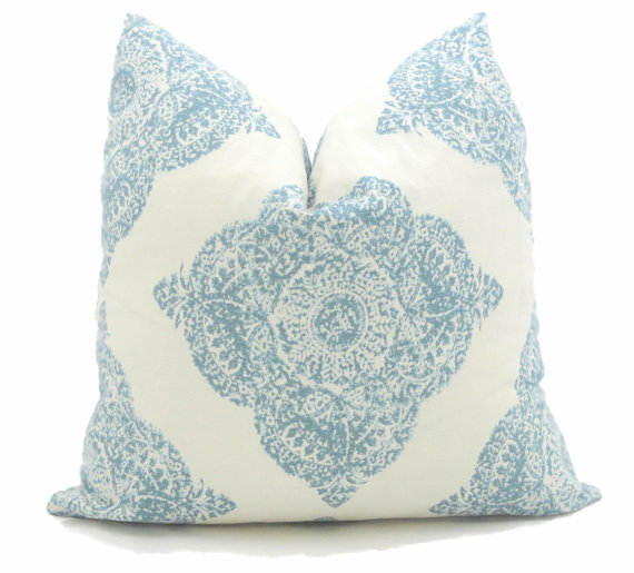 Aqua printed pillow.