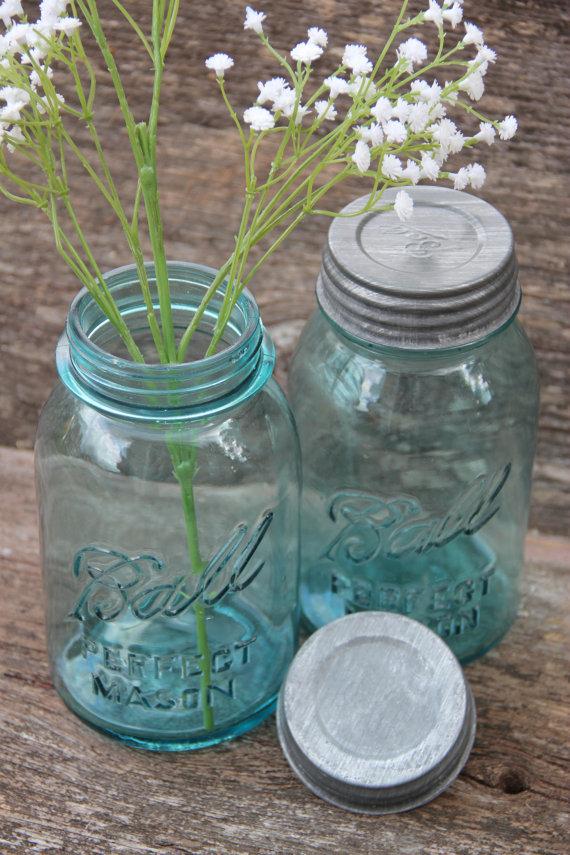 Blue mason jars.
