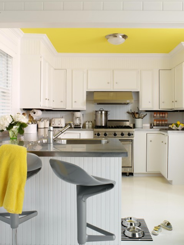 Yellow painted ceiling.