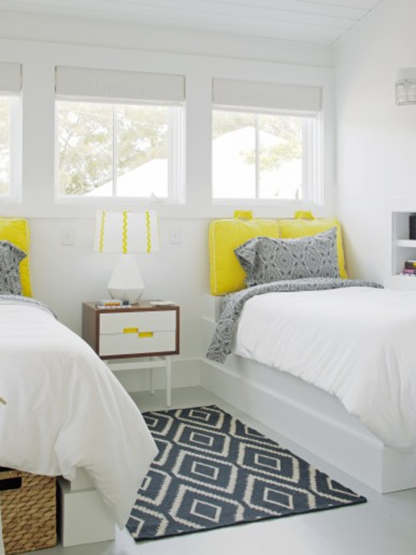 Yellow pillows.