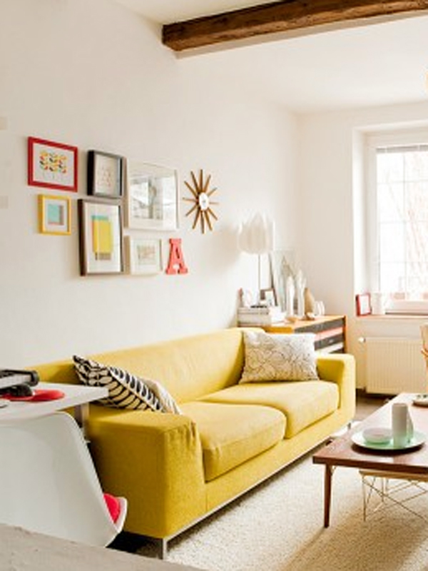 Yellow sofa.