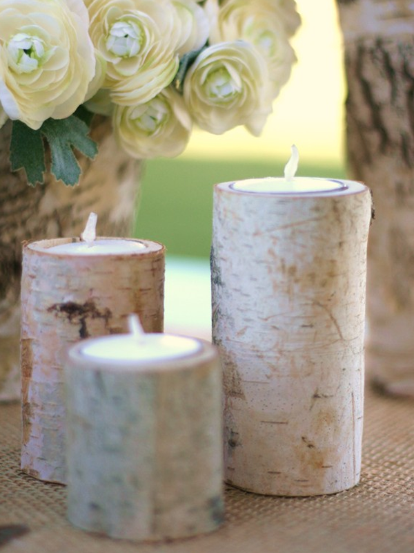 Tree bark candles.