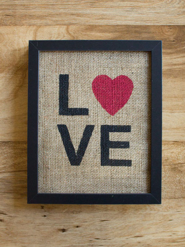 Framed LOVE print.
