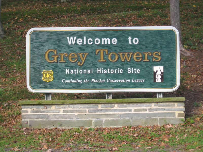 Grey Towers sign.
