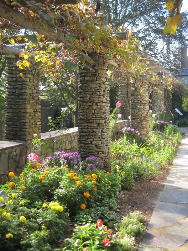 Stone column walkway.