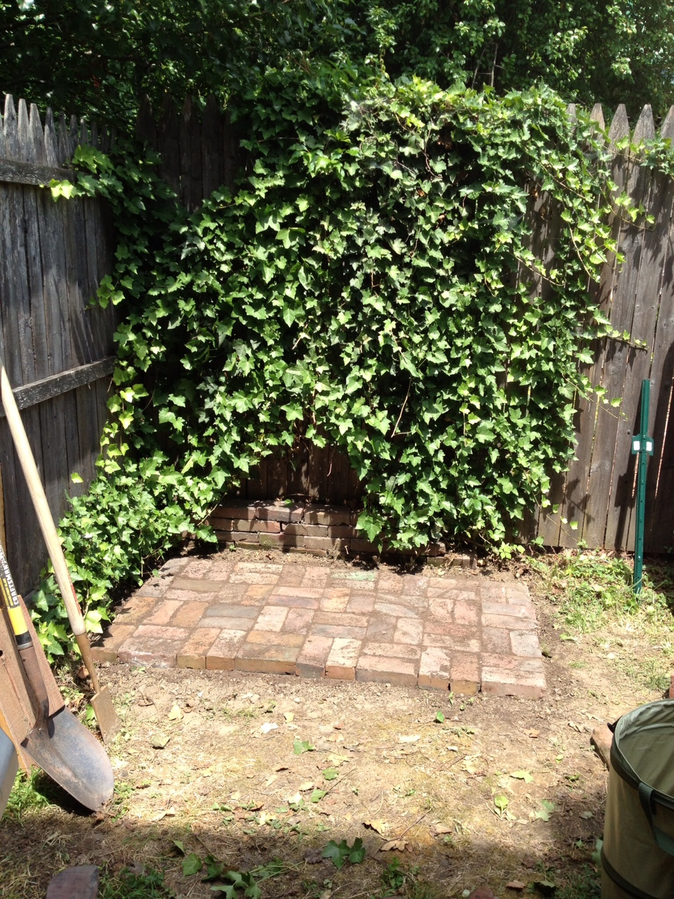 The small brick patio for the shed to sit on.