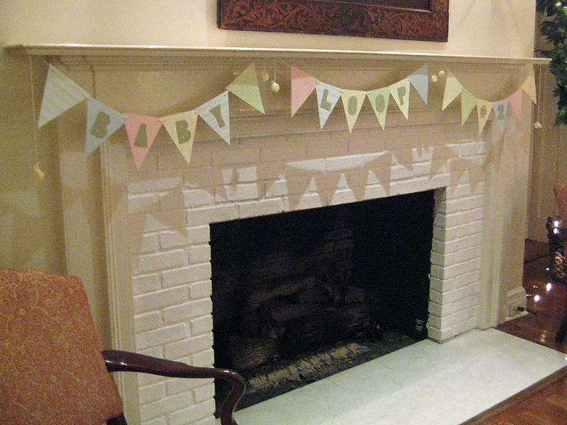 Bunting on the fireplace.