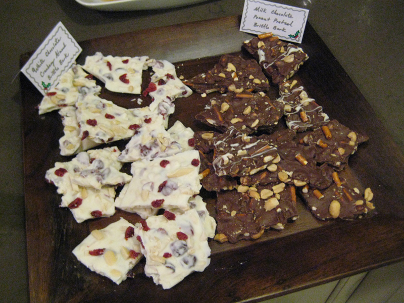 Milk and white chocolate brittle bark